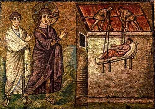 Guarigione del paralitico di Cafarnao (Mosaico della Basilica di S. Apollinare Nuova, VI sec. Ravenna)