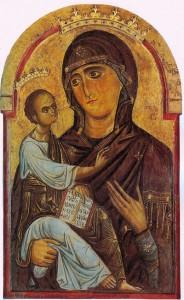 Berlinghiero_o_pittore_bizantino._Madonna_col_Bambino._I_quatro_del_XIII_secolo,_Pisa,_Cattedrale.