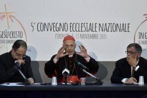 Firenze 13-11-2015 Convegno Ecclesiale della Conferenza Episcopale Italiana. Conferenza stampa  conclusiva del Cardinale Presidente Angelo Bagnasco Ph: Gennari/Siciliani